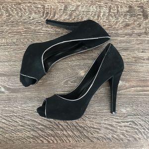 Black Microsuede Heels with Silver Lining